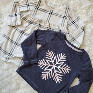 Girls winter long sleeve tee and dress lot 24 mo